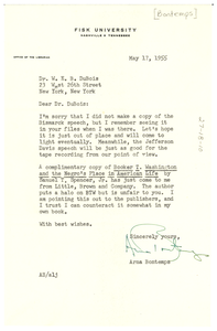 Letter from Arna Bontemps to W. E. B. Du Bois