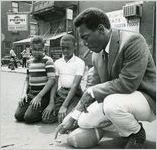 Bill Cosby, back in old neighborhood in Philadelphia, Pennsylvania, 1968.