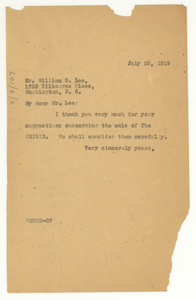 Letter from W. E. B. Du Bois to William C. Lee