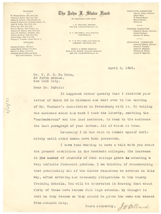 Letter from J. H. Dillard to W. E. B. Du Bois