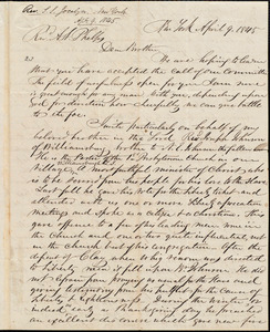 Letter from Simeon Smith Jocelyn, New York, to Amos Augustus Phelps, April 9. 1845