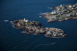 """An October 2017 aerial view of the Cape Neddick Lighthouse, better known as the """"Nubble Light,"""" off Wells, Maine"""
