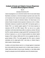 Analysis of Innate and Adaptive Immune Responses to Listeria Monocytogenes Infection