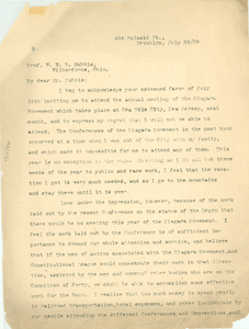 Letter from George E. Wibecan to W. E. B. Du Bois