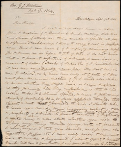 Letter from George Jeffrey Tillotson, Brooklyn, [Conn.], to Amos Augustus Phelps, 1844 Sept[ember] 17th