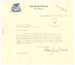 Letter from Edward J. Davis to W. E. B. Du Bois
