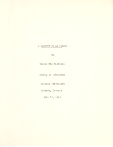 Student family histories: Mitchell, Willie (Davis, Leonard, Sullivan)