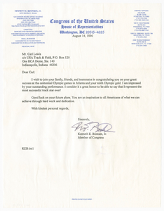 Letter from US Representative Kenneth E. Bentsen, Jr. to Carl Lewis