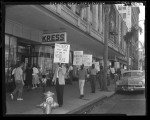 Pickets march in front of Kress Store in protest of firm's refusal to serve blacks in Pasadena, Calif., 1960