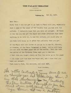 Letter: Valdosta, Georgia to Ben Stein, Macon, Georgia, 1928 Feb. 18