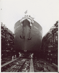 Bow-side view of Liberty ship SS Robert S. Abbott during its launching at Permanente Metals Corporation Shipyard No. 2