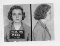 Mississippi State Sovereignty Commission photograph of Winonah [sic] Beamer following her arrest for her participation in a Freedom Ride, Jackson, Mississippi, 1961 June 9