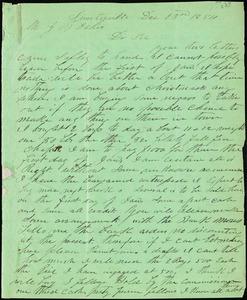 A. J. McElveen, Sumterville, S.C., autograph letter signed to Ziba B. Oakes, 13 December 1854