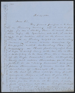 John W. LeBarnes autograph letter signed to [Thomas Wentworth Higginson], 27 February 1860