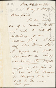 Letter from Thomas Wentworth Higginson, Brattleboro, [Vermont], to Theodore Parker, 1858 May 9