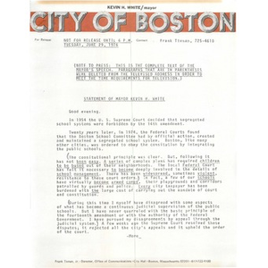Statement of Mayor Kevin H. White, June 29, 1976.