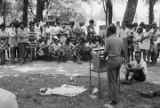 Man speaking during a rally sponsored by the Birmingham Mobilization Committee Against War and Racism at Kelly Ingram Park in Birmingham, Alabama.