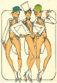 Costume design drawing, showgirls in vests and tail coats, Las Vegas, June 5, 1980