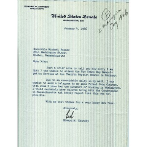 Letter from Senator Edward M. Kennedy to Reverend Michael E. Haynes.