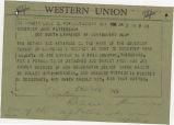 Telegram from Bernard Lee in Montgomery, Alabama, to Governor John Patterson.
