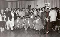 Lambda Chi Alpha (LXA) fraternity house party with musicians, 1957