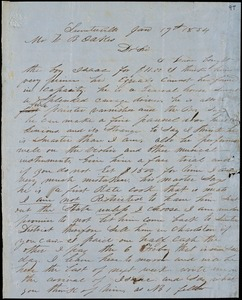 A. J. McElveen, Sumterville, S.C., autograph letter signed to Ziba B. Oakes, 19 January 1854