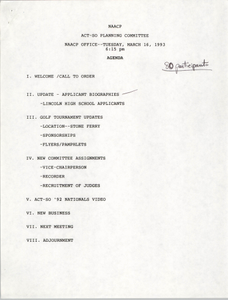 Agenda, ACT-SO Planning Committee, NAACP, March 16, 1993