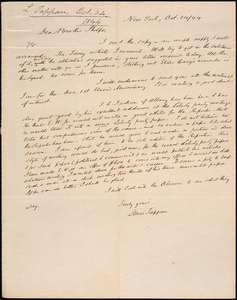 Letter from Lewis Tappan, New York, to Amos Augustus Phelps, 1844 October 24