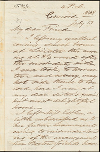 Letter from Samuel Joseph May, Concord, [Mass.], to William Lloyd Garrison, July 13 [1868]