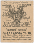 """Front page of a folded flyer for Asadata Dafora's Shogola Aloba Group production of """"Kykunkor,"""" at the Congo Room of the Saratoga Club, Harlem, New York, performed on March 24, 1934"""