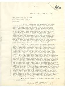 Letter from W. A. Caldwell to Editor of the Crisis