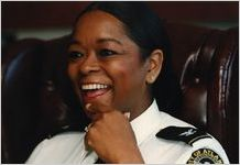 Chief of Police Beverly Harvard in her office, 1994