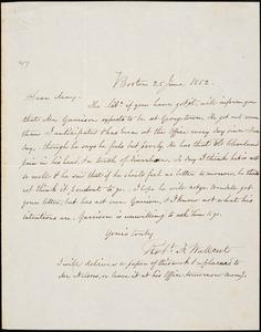 Letter from Robert Folger Wallcut, Boston, [Massachusetts], to Samuel May, 1852 June 25