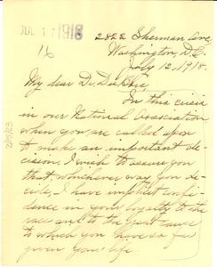 Letter from Ida Gibbs Hunt to W. E. B. Du Bois