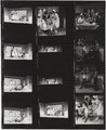"Contact sheet of black-and-white negatives, scenes from Young People's Theatre production of ""Seven Little Rebels"" performed at Kingsbury Hall, University of Utah, January 16-17, 1953"