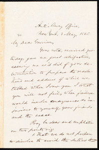 Letter from Oliver Johnson, New York, [N.Y.], to William Lloyd Garrison, 3 May, 1865