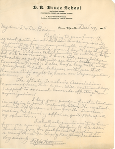 Letter from T. W. H. Williams to W. E. B. Du Bois