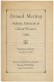 Program from the annual meeting of the Alabama Federation of Colored Women's Clubs in Montgomery, Alabama