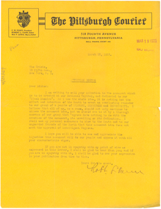 Letter from Robert L. Vann to W. E. B. Du Bois