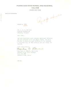 Letter from Prairie View State Normal and Industrial College to W. E. B. Du Bois