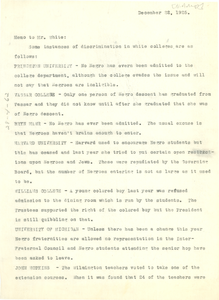Memo from W. E. B. Du Bois to Walter Francis White