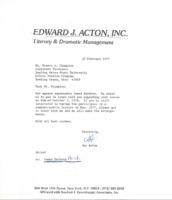 Edward J. Acton's response to Ernest Champion on behalf of James Baldwin