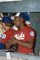 Bo Jackson in the dugout during a game between the Memphis Chicks and Birmingham Barons at Rickwood Field in Birmingham, Alabama.
