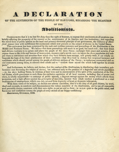 A declaration of the sentiments of the people of Hartford, regarding the measures of the abolitionists