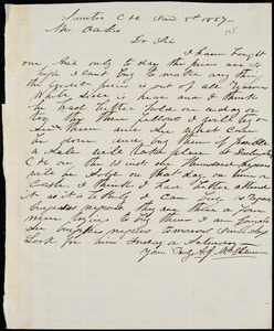 A. J. McElveen, Sumter Court House, S.C., autograph letter signed to Ziba B. Oakes, 5 January 1857