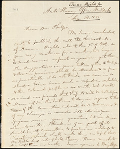 Letter from Elizur Wright, New York, to Amos Augustus Phelps, 1835 Sept[ember] 14