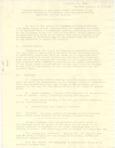 Recommendations to the Inter-Racial Committee of the Hartford Federation of Churches from the sub-committee appointed for the purpose.