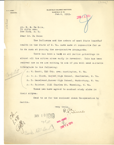 Letter from R. P. Sims to W. E. B. Du Bois