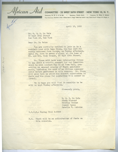 Circular letter from African Aid Committee to W. E. B. Du Bois