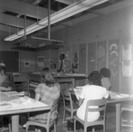 Speaker in classroom, Los Angeles, 1971